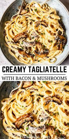 Tagliatelle Pasta, Bacon Pasta, Truffle Oil, Fabulous Foods, Tasty Dishes, Yummy Yummy, Delicious Recipes, Truffles, Truffle