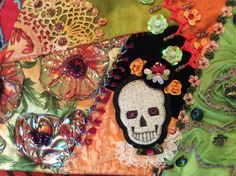 Another skull on Day of Dead quilt by L Hopkins