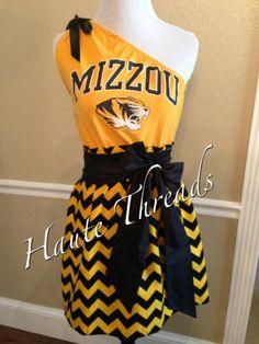 Missouri MIZZOU Columbia Tigers SEC One-Shouldered Gameday Dress  by hautethreadsboutique, $70.00.  (www.hautethreadsboutique.com)