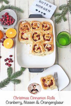 These Christmas Christmas Cinnamon Rolls are filled with cranberry, nuts . - These Christmas Christmas Cinnamon Rolls are filled with cranberry, nuts and a heavenly orange glaz -