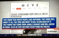 """Disgusting Steve Bannon and Breitbart """"News"""" This is the man Trump has put in our White House.  No one can say now that Trump is not a racist sexist anti semetic piece of trash"""