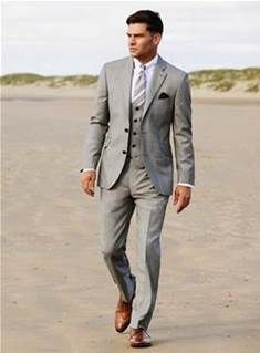 EXPRESS grey suit with brown shoe, light blue shirt with light ...