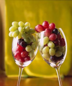 Serve luscious green, black and red California grapes in wine glasses for a delicious, elegant, no-fuss appetizer.