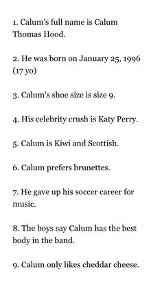 Calum Facts:  Facts from Wattpad book Don't know the author