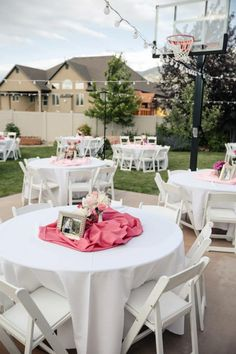 backyard summer wedding....love this idea with fabric in the middle of table