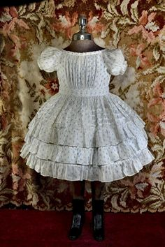 c. 1850-60s Summer Dress, French Blue Flower Print on Semi-Sheer White Cotton, Layers of Ruffles, Large Doll, Small Child