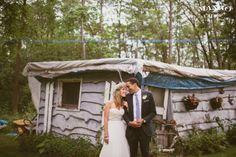 #weddings #photography #weddingideas #inspiration #green #trees #dress #suit #white #flowercrown #boutonniere #black #bride #groom #portrait #shed #house #flowers  #outdoors #mangostudios photography by Mango Studios