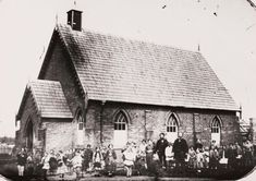 A Church of England denominational school in Dunolly, west of Bendigo in Victoria in 1861. •State Library of Victoria•