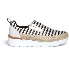 Msgm Mesh zigzag stripe slip-on espadrille sneakers (€475) ❤ liked on Polyvore featuring shoes, sneakers, twisted shoes, platform slip on shoes, slipon shoes, platform espadrilles and summer shoes