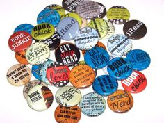 """Book Lovers Set of 10 Buttons 1"""" or 1.5"""" Pin Backs or 1"""" Magnets Reading Party Favors"""