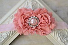 Light pink chiffon headband baby headband adult by IzzysAttic, $9.99