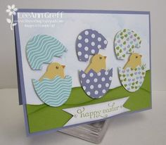 Punch art Easter Eggs using Bird Builder Punch and Large Oval Punch Easter Projects, Easter Crafts, Easter Decor, Easter Ideas, Bird Cards, Marianne Design, Punch Art, Creative Cards, Scrapbook Cards