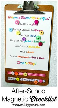 The Silly Pearl {Handmade}: Magnetic After School Checklist and Free Printable