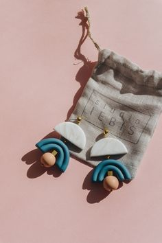 NEW - Modern minimalist polymer clay drop-stud earrings. Soft colors, unique design. Spring inspired statement jewelry.