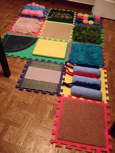 Create a sensory floor with foam tiles and different textures of fabric, carpet, and more! Create a sensory floor with foam tiles and different textures of fabric, carpet, and more! Baby Sensory Play, Sensory Wall, Sensory Rooms, Sensory Boards, Sensory Bins, Sensory Activities, Infant Activities, Activities For Kids, Infant Classroom