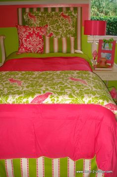 Make a stop at this website for great dorm room, sorority room bedding and headboards.  http://www.decor-2-ur-door.com