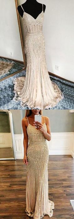 Sexy V Neck Prom Dress,Cheap Prom Dress,Long Evening Dress,gorgeous prom evening dresses with beaded train, fashion straps v-neck formal party dresses
