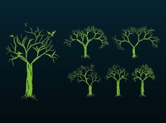 Natural vector graphics of various trees. Image collection with solid color sketches of trees with different shapes and branch sizes. Hand drawn plant images to create nature, plants, trees, ecology, forests and parks designs. Free vector layouts for posters, flyers and clothing prints. Tree Designs by Free-vectors.com 0