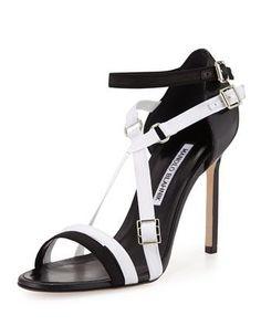 Manolo Blahnik Calestra Crisscross Buckled d'Orsay Sandal Black and White Strap Heels