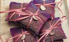 Items similar to 25 French Lavender Sachets in Sheer Purple Organza with satin ribbon and thank you metal tag on Etsy Lavender Bags, Lavender Sachets, Bridal Shower Favors, Wedding Favors, Realtor Gifts, French Lavender, All Things Purple, Ribbon Colors, Handmade Items