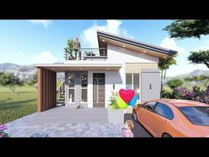 Small House Design (7x7 Meters) - YouTube Modern Bungalow House Design, Small Modern House Plans, Small Bungalow, Modern Small House Design, One Storey House, House Construction Plan, House Blueprints, Roof Deck, Roof Top