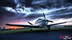 Beechcraft Bonanza at dusk