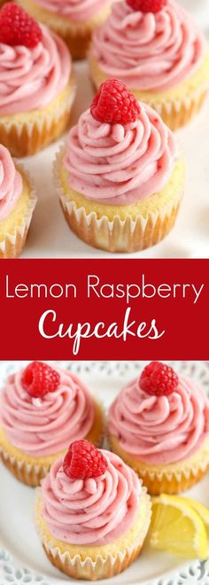 and moist lemon cupcakes topped with an easy raspberry buttercream frostin. -Light and moist lemon cupcakes topped with an easy raspberry buttercream frostin. Valentine Desserts, Köstliche Desserts, Delicious Desserts, Dessert Recipes, Valentine Cupcakes, Easter Desserts, French Desserts, Lemon Desserts, Plated Desserts