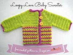 15 Free Baby Sweater Crochet Patterns: Loopy Love Baby Sweater Free Crochet Pattern