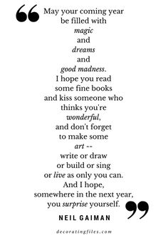 Quote by Neil Gaiman on Living in the New Year   Decorating FIles  