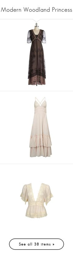 """""""Modern Woodland Princess"""" by eyeslikeknives ❤ liked on Polyvore featuring dresses, gowns, vintage, modcloth, lace, black, apparel, boho maxi dress, lace evening dresses and v neck evening gown"""