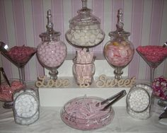 www.elegantweddingcreations.co.uk DIY candy wedding Buffet, all jars in picture for a hire fee of £40 + scoops etc. Bags are an additional fee and the sweets of course. Good find for something different on a budget