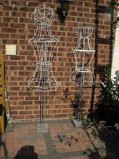 lampshade frames to garden art