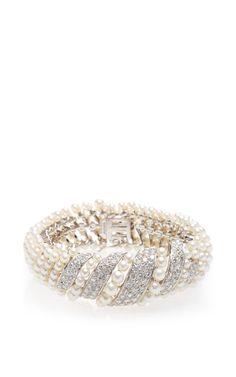 Vintage David Webb Pearl and Diamond Bracelet - Moda Operandi