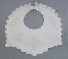 French baby bib 1920's with scalloped by FrenchVintageLife on Etsy, $18.00