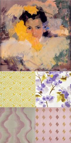 Art inspires fabric! Nina con Flores by Joaquin Sorolla featuring Sunburst 24 Grapevine, Satellite #30 Boudoir, Spirit 195 Supernova, and Chanel #303 Golden. All from www.maxwellfabrics.com