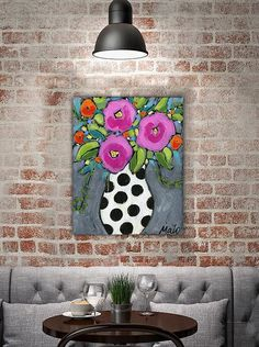 Original acrylic painting and mixed media on canvas, pink flowers in a vase, 11 x 14 by artist Isabelle Malo acrylic painting and mixed media on canvas, paper and texture. Signed and dated by Isabelle Malo Color may vary one screen to another I can do international delivery, please,