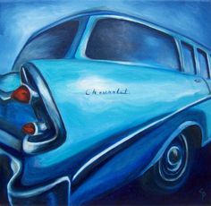 Blue Chevy hot rod original oil painting  pop by catpopefineart // Would love to draw the bel-air