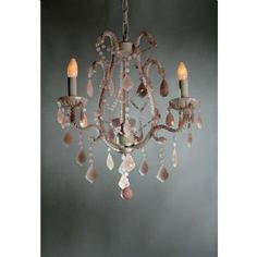 French Style Marie Therese Cream Cracked & Pink 3 Arm Chandelier