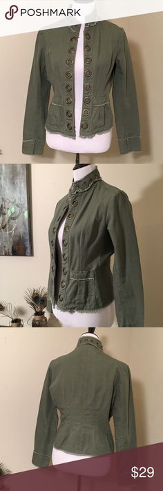 """Tailored Military Jacket Adorable tailored military style jacket by Star. Interesting metal hook closures. Size Medium but fits like a Small so I posted as a Small. I'd love to keep it but it's a tad too small for me. 18.5"""" armpit to armpit. L21"""" without collar. Great utility jacket you can wear year round with a bit more style than  your typical military style jacket😍👌🏼 Star Jackets & Coats Utility Jackets"""