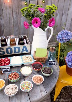 Ideas for DIY dessert and drink stations. She has it set up cool for a rustic wedding.