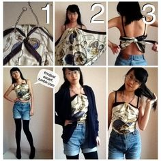 Necklace Halter Top - Knot Just A Scarf. Ways to tie a scarf. How To Wear Belts, Ways To Wear A Scarf, How To Wear Scarves, Wearing Scarves, Scarf Top, Scarf Dress, Scarf Shirt, Scarf Tying Tutorial, Head Scarf Tying