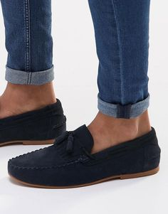 ASOS Tassel Loafers in Navy Suede With Fringe