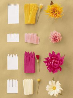 Jolies fleurs en papier crépon A small activity sheet to easily make flowers crepe paper or tissue paper. Use the … Paper Flowers Craft, Giant Paper Flowers, Flower Crafts, Diy Flowers, Real Flowers, Wedding Flowers, Crepe Paper Decorations, Birthday Decorations, Paper Flowers How To Make