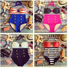 High-waisted swimsuits