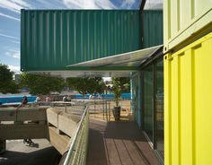 Storey temporary restaurant installation, constructed from eight recycled shipping containers - Wahaca Southbank, Softroom