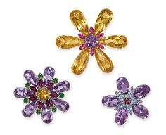 Lot 43 -  A GROUP OF THREE MULTI-GEM BROOCHES, BY TIFFANY & CO.