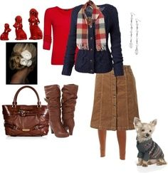 Ok I like the actual outfit with the boots and purse, but I don't get why there's a dog with a sweater
