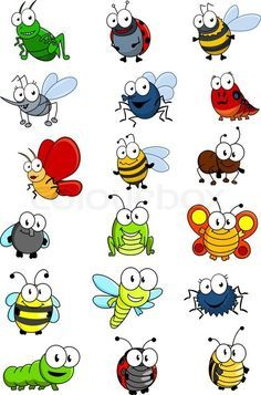 Cartooned insects set with bee, wasp, hornet, caterpilllar, grashopper, ladybug, fly, worm, butterfly, dragonfly, ant, spider and bug | Vector | Colourbox on Colourbox