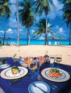 Outside Dining - Peter Island (British Virgin Islands).  ASPEN CREEK TRAVEL - karen@aspencreekt...