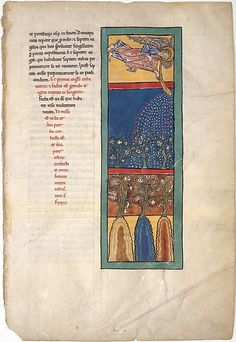 "Leaf from a Beatus Manuscript, the First Angel Sounds the Trumpet, c 1180. ""Illustrated Beatus manuscripts bring to life an extraordinary vision of the end of the world, as recorded by Saint John in the Apocalypse (Book of Revelation) and filtered through the lens of Beatus of Liébana, an eighth-century Asturian monk. These manuscripts are unique to medieval Spain and a testament to the pervasive artistry and intellectual milieu of monastic culture there."""